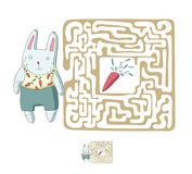 Children`s maze with rabbit and carrot. Puzzle game for kids, vector labyrinth illustration. Children`s maze with rabbit and carrot. Cute puzzle game for kids Royalty Free Stock Photos