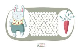 Children`s maze with rabbit and carrot. Puzzle game for kids, vector labyrinth illustration. Royalty Free Stock Photos