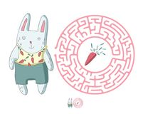 Children`s maze with rabbit and carrot. Puzzle game for kids, vector labyrinth illustration. Children`s round maze with rabbit and carrot. Cute puzzle game for Stock Photography