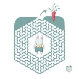 Children`s maze with rabbit and carrot. Puzzle game for kids, vector labyrinth illustration. Children`s maze with rabbit and carrot. Cute puzzle game for kids Royalty Free Stock Image