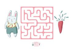 Children`s maze with rabbit and carrot. Puzzle game for kids, vector labyrinth illustration. Children`s maze with rabbit and carrot. Cute puzzle game for kids Stock Photos