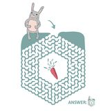 Children`s maze with rabbit and carrot. Puzzle game for kids, vector labyrinth illustration. Children`s maze with rabbit and carrot. Cute puzzle game for kids Royalty Free Stock Photo