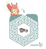Children`s maze with squirrel and nuts. Puzzle game for kids, vector labyrinth illustration. Children`s maze with squirrel and nuts. Cute puzzle game for kids Stock Photography