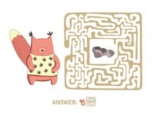 Children`s maze with squirrel and nuts. Puzzle game for kids, vector labyrinth illustration. Children`s maze with squirrel and nuts. Cute puzzle game for kids Stock Image