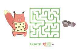 Children`s maze with squirrel and nuts. Puzzle game for kids, vector labyrinth illustration. Children`s maze with squirrel and nuts. Cute puzzle game for kids Stock Photo