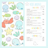 Children`s menu in a marine style. Cute sea life. Nice template for your business Royalty Free Stock Images