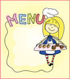 Children's menu - sweets and confectionery products, donuts, cakes. Architectural drawing illustrations for a children's menu is shown in figure girl with a tray stock illustration