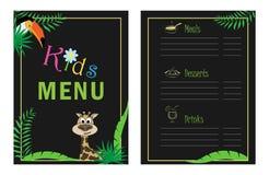 Children`s menu template. Cafe menu design for kids. Menu for children with palm leaf koalla and parrot. stock illustration