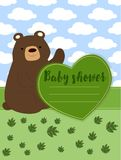 Baby shower vector wich cute teddy bear Royalty Free Stock Photo