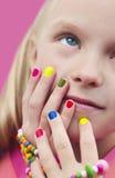 Children's multicolored manicure. Stock Image