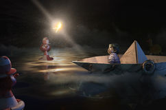 Children's nightmares. Crying girl in paper boat the night Stock Illustration