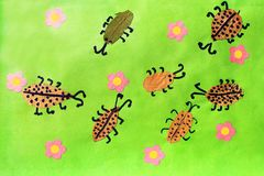 Children's odd with beetles with pink flowers Stock Image