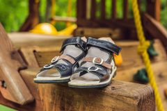 Children`s orthopedic shoes. Thomas Heel, arch support. Children`s orthopedic shoes. Thomas Heel arch support stock photos