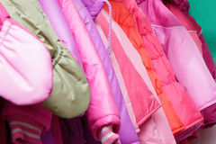 Children's outerwear in store Stock Image