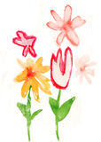 Children's paint. Flowers to background
