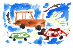Children's paint cars Royalty Free Stock Photos