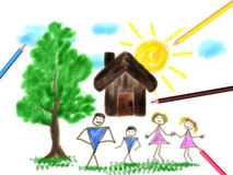 Children's paint family Royalty Free Stock Images