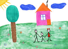 Children's paint family in summer nature. To background Royalty Free Stock Images