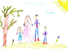 Children's paint family in summer nature. To background Royalty Free Stock Photo