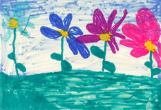 Children's paint flowers Royalty Free Stock Image