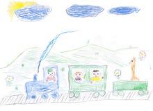 Children's paint happy train with children Stock Photo