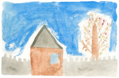 Children's paint house Royalty Free Stock Image