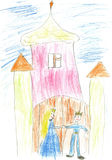 Children's paint magic palace with king and queen Royalty Free Stock Images
