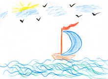 Children's paint ship in sea Royalty Free Stock Photos