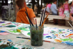 Children's painting. At party outside stock images
