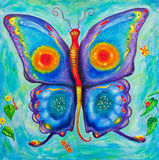 Children's painting of a colourful butterfly. Colorful, vibrant and detailed children's painting of butterfly surrounded by leaves and other insects Stock Photos