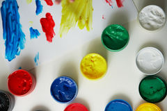 Children`s paints and drawing Stock Images