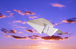Children's paper airplane. Royalty Free Stock Images