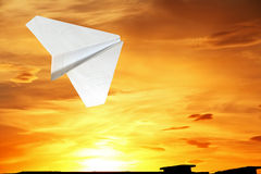 Children's paper airplane. Royalty Free Stock Photography