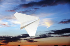 Children's paper airplane. Royalty Free Stock Image