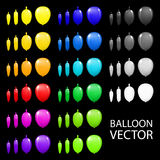 Children's party balloons colorful vector black background. Art Royalty Free Stock Images