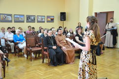 The children's party at Christmas concert in the city hall of the city of Gomel (Belarus) January 6, 2014. Stock Photo