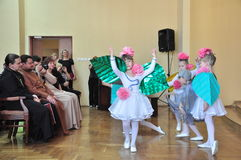 The children's party at Christmas concert in the city hall of the city of Gomel (Belarus) January 6, 2014. Stock Images