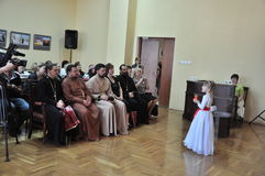 The children's party at Christmas concert in the city hall of the city of Gomel (Belarus) January 6, 2014. Stock Photography