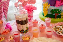 Children`s Party Decoration. Cakes and sweets Stock Photography