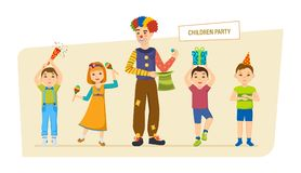 Children`s party. Small happy children, have fun, play, spend time. Children`s party. Small happy children, have fun, play, spend time with a clown animator Royalty Free Stock Photography