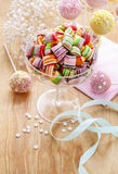 Children's party table: candies and cake pops Stock Photo