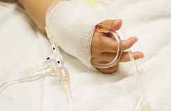 Children's patient  in the hospital with saline intravenous (iv) Royalty Free Stock Photo