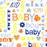 Children's pattern. Children's colored pattern with letters Stock Photos