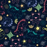 Magic dreams. Pattern-2. Children`s pattern with different cute characters vector illustration