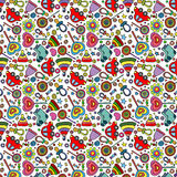 Children`s pattern, toys, clothes and candies stock illustration