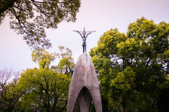Children& x27;s Peace Monument, Sadako Sasaki statue, Hiroshima, Japa. Children& x27;s Peace Monument at Hiroshima peace memorial park stock images