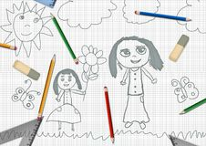 Children's pencil daughter giving flowers for mothers day school desk Stock Photos