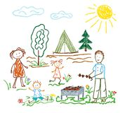 Children s pencil drawing on the theme of summer, friendship, family, camping, recreation, barbecues royalty free illustration