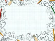 Children's pencil drawings desk background Stock Images