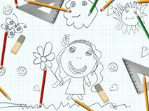 Children's pencil girl drawing school desk Royalty Free Stock Images